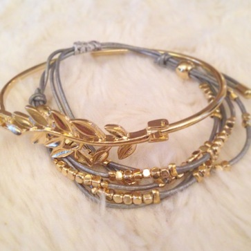 Leaf Bangle and Beaded Wrap Bracelet